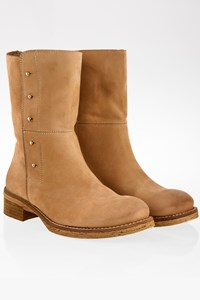 Chiarini Beige Soft Nubuck Leather Booties / Size: 38 - Fit: True to size