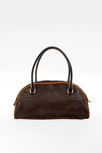 Prada Small Brown Leather Bauletto with Perforated Details