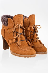 See by Chloé Tan Leather Lace-Up Booties with Knitted Details / Size: 39.5 - Fit: True to size