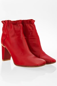 Louis Vuitton Red Leather Ankle Booties / Size: 38 - Fit: True to size