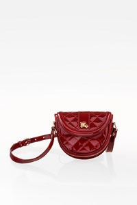 Burberry Burgundy Quilted Patent Leather Crossbody Mini Bag