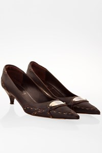 Fendi Brown Leather Pumps with Stitching / Size: 39 - Fit: True to size