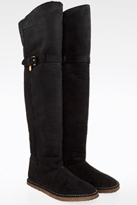 Stella McCartney Black Faux-Shearling Over the Knee Flat Boots / Size: 39 - Fit: True to size