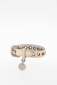 Prada Ecru Patent Leather Bracelet with Silver Hardware
