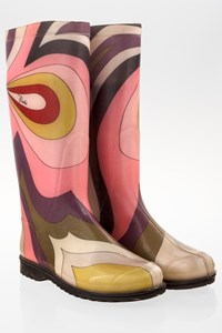 Emilio Pucci Multicolour Print Wellington Boots / Size: 38 - Fit: True to size