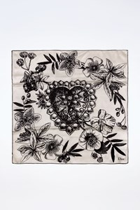 Dior Black and White Silk Scarf with a Heart Print at the Center