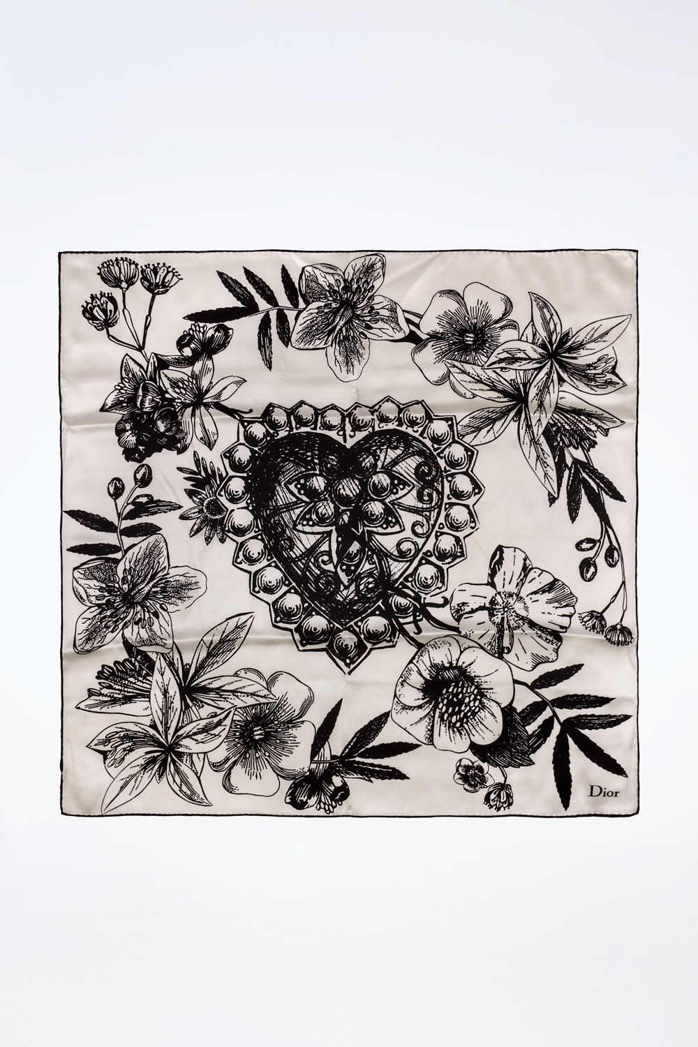 Black and White Silk Scarf with a Heart Print at the Center Scarves