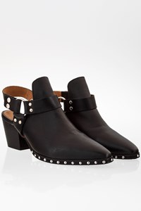 Office London Black Leather Ankle Boots with Open Back / Size: 40 - Fit: 39