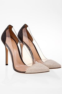 Gianvito Rossi White-Anthracite Plexi Glitter Pumps / Size: 37.5 - Fit: 36.5 (Tight toes)