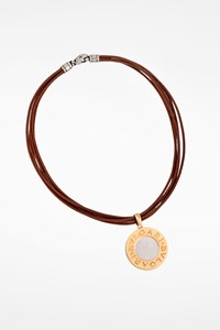 Bulgari Reversible 18K Yellow Gold and Steel Pendant Necklace with Leather Cord