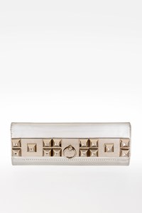 Philipp Plein Silver Leather Studs Clutch