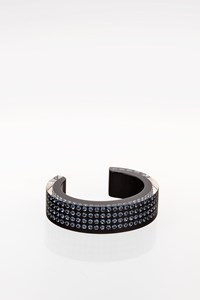 Swarovski Transparent-Black Resin Cuff with Light Blue Crystals