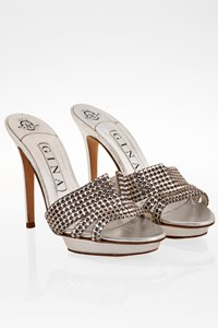 Gina Silver Metallic Leather Crystal Embellished Sandals / Size: 37.5 - Fit: 37
