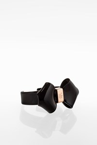 Ted Baker Black Acrylic and Rose Gold Metal Bow Bracelet