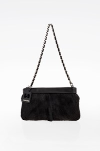 Chanel Black Pony Hair and Black leather Clutch