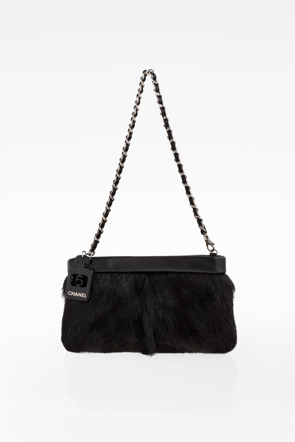 Black Pony Hair and Black leather Clutch 02f77f774