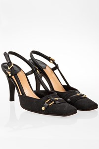 Louis Vuitton Black Leather and Canvas Slingbacks / Size: 39 - Fit: True to size