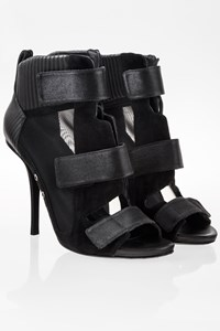 Alexander Wang Black Noemi Multi Material Ankle Booties / Size: 38.5 - Fit: True to size