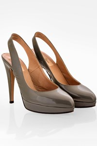 Valentino Khaki Patent Leather Sligbacks / Size: 38 - Fit: 38.5