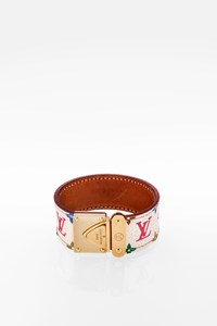Louis Vuitton Koala White Multicolor Monogram Canvas Cuff Bracelet