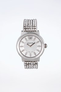 Swarovski Silver Watch with Crystals and White Leather