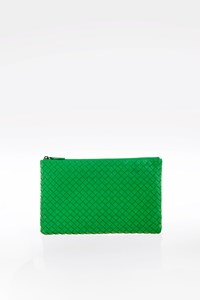 Bottega Veneta Green Intrecciato Leather Pochette