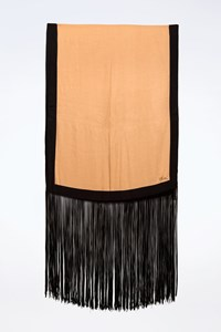 Gucci Gold-Black Shawl with Fringes
