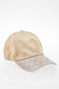 Gucci Ecru Suede and Leather Hat