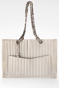 Chanel Off-White Leather Shoulder Bag with Chain