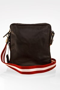 Bally Dark Brown Leather Men's Bag with Adjustable Canvas Strap