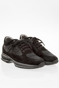 Hogan Black Suede Interactive Sneakers with Mesh / Size: 35.5 - Fit: 36.5