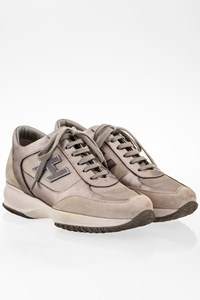 Hogan Ecru Suede Interactive Sneakers with Silver Leather / Size: 35.5 - Fit: 36.5