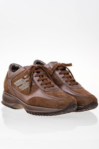 Hogan Brown Suede Interactive Sneakers with Brown Metallic Leather / Size: 35.5 - Fit: 36.5