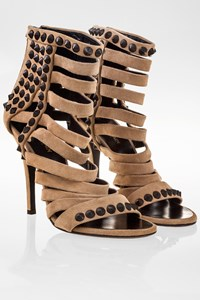 Giuseppe Zanotti for Balmain Beige Suede Stud Strappy Sandals / Size: 37.5 - Fit: True to size