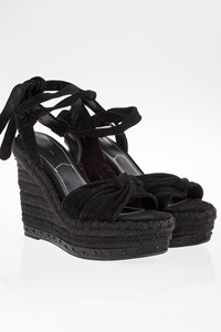 KENDALL + KYLIE Black Suede and Raffia Platforms / Size: 8M (39)- Fit: True to size