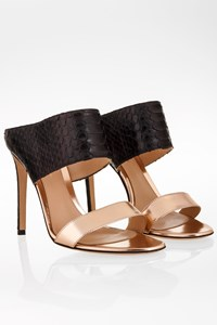Gianvito Rossi Pink Gold and Black Python Leather Sandals / Size: 38 - Fit: 39