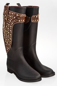 Hookipa Black Wellington Boots with Brown Leather Details and Crystals / Size: 38 - Fit: 39.5