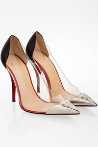 Christian Louboutin Pointy Pumps with Plexi Details and Metallic Toes / Size: 40 - Fit: 39.5