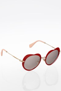 Miu Miu Heart Shaped Metallic Sunglasses with Mirrored Lenses