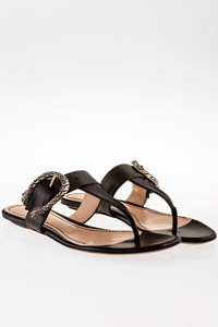 Gucci Black Flat Leather Thong Sandals / Size: 39- Fit: True to size