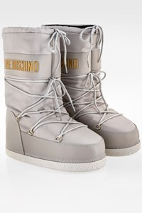 Love Moschino Grey Nylon Moon Boots with Logo /