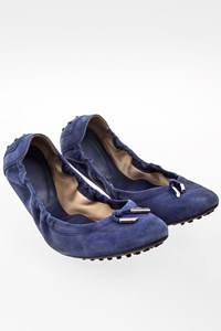 Tod's Indigo Blue Suede Ballerinas / Size: 40 - Fit: True to size