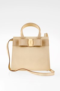 Salvatore Ferragamo Ecru Vara Bow Embossed Leather Tote Bag