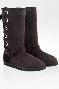 Ugg Heirloom Black Knitted Lace-Up Boots / Size: 39 - Fit: 38.5
