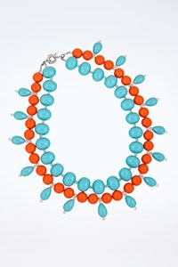Bead it! Light Blue and Orange Stone Necklace