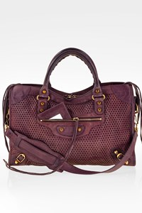 Balenciaga Purple Perforated Classic Gold City Lambskin Leather Shoulder Bag