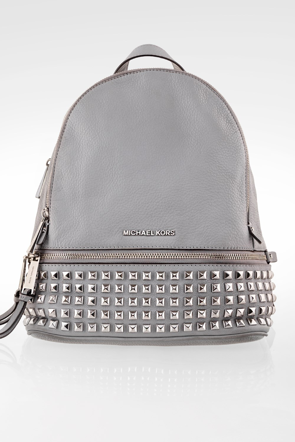 15d014de4 Grey Rhea Medium Studded Leather Backpack, Backpacks, Buy Handbags ...