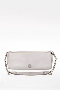 Tory Burch Silver Embossed Leather Pochette