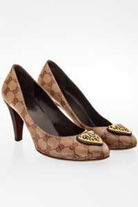 Gucci Interlocking GG Canvas Pumps with Metallic Buckle / Size: 37.5 - Fit: 38