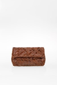 Bottega Veneta Brown Intrecciato Double Woven Leather Mini Clutch